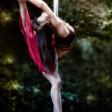Street pole dance, fire and pole; Meriko